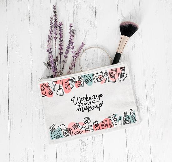 صورة Personalized Makeup Cosmetic and Makeup Bag, 1PC - 25 x 15 Cm