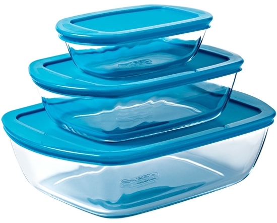 صورة Pyrex - Storage Dish Cook & Store, 3PCS -  0.4L, 1.1L, 2.5L