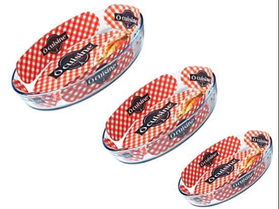صورة Ocuisine - 3 Pcs Oval Roaster Set (Glass) (21x30 cm)+(24x35 cm)+(27x39 cm)