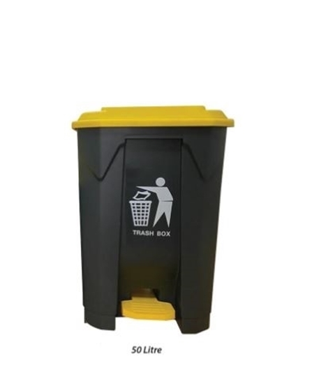 Picture of Plastic Dustbin With Pedal, 50L - 42.5 x 39.5 x 60 Cm