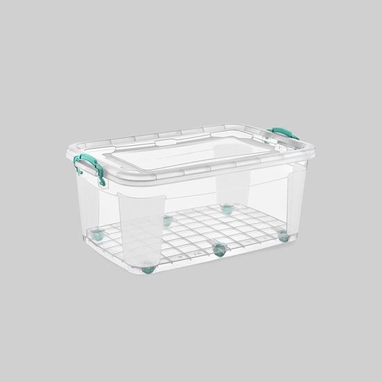 صورة Poly Time - Storage box with wheel, 40L - 47 x 72 x 20 Cm